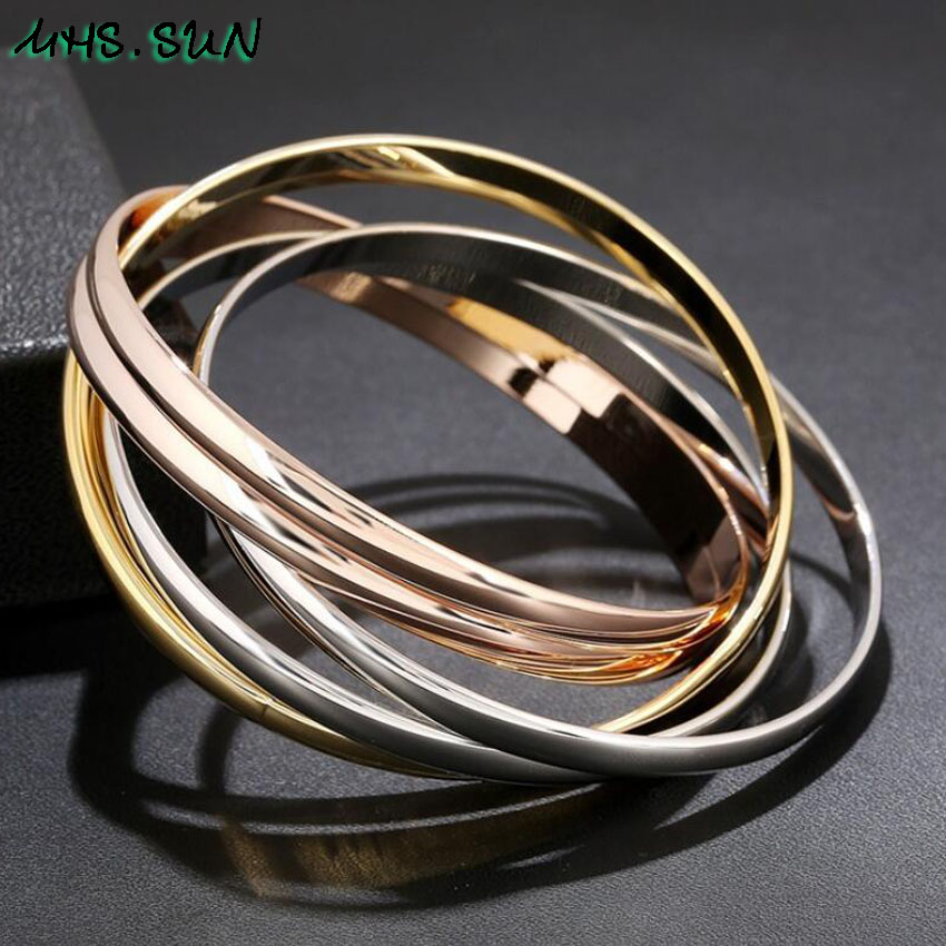30-1ashion Six-Layers Women Contracted Bangles Bracelets European Style Girls Ladies Bangles All-Match Jewelry Fadeless