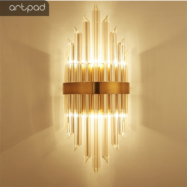 Artpad Post-modern Golden Lamp Wall Mounted Led with K9 Crystal Glass Rod for Living Room Stair Corridor Background Sconces Led