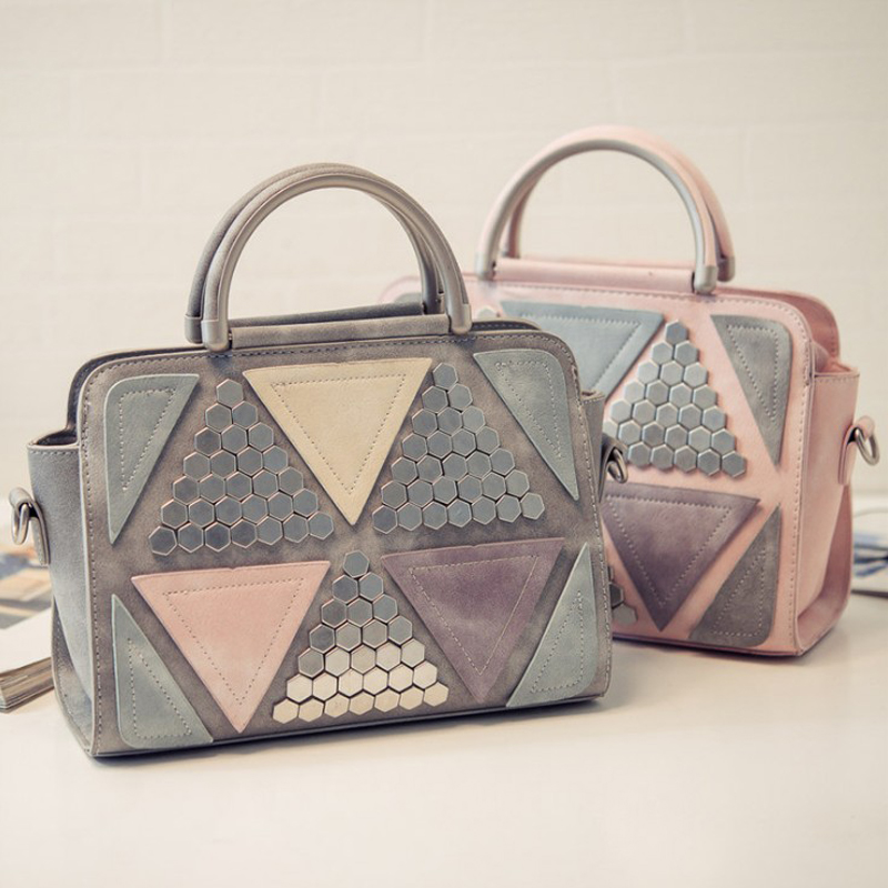 Latest Design New Korean Fashion Women Rivet Bags Handbags Luxury Ladies Stitching Bag Sweet Girl Leather