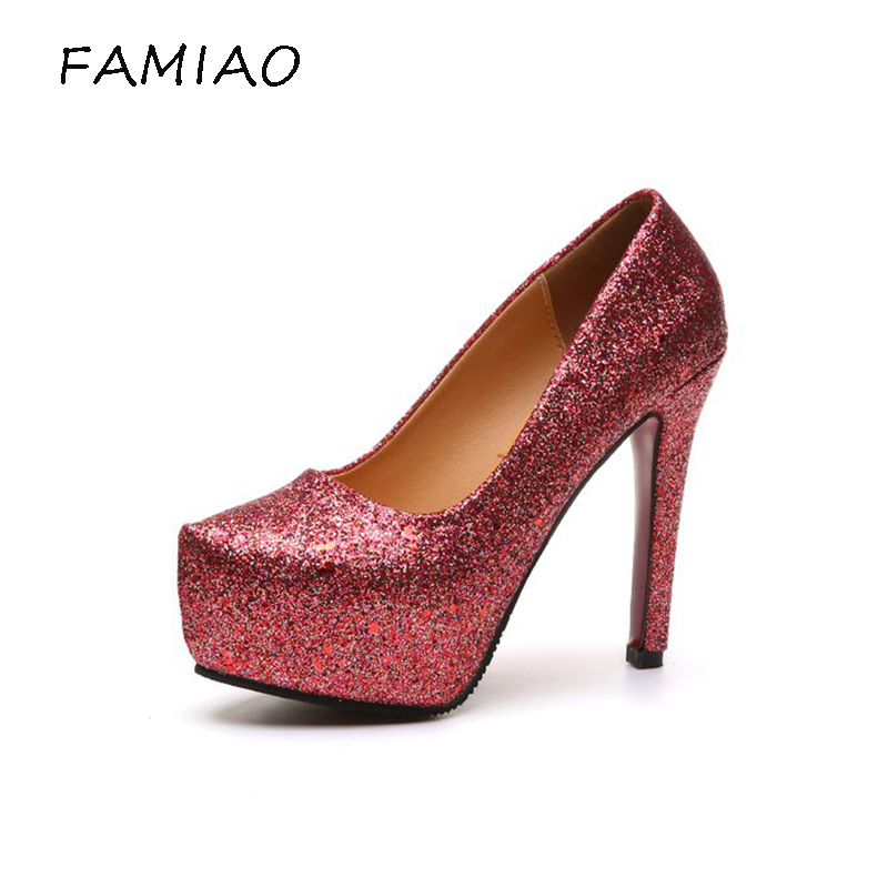 ddc48f28ed4 FAMIAO Women s Elegant Sequined Round Toe Platform High Chunky Heel Slip On  Wedding Pumps Glitter Shoes Red Bottom Bridal Shoes