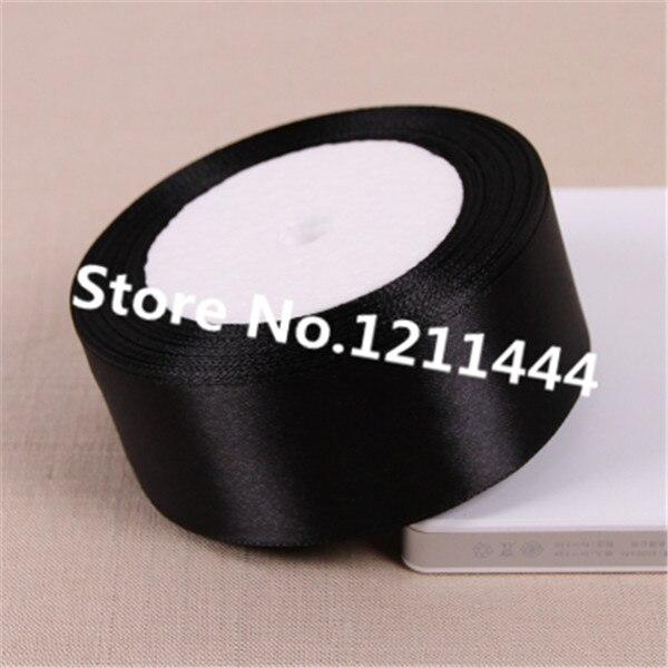 Бесплатная доставка 25 ярдов 38 мм широкая черная качество один Уход за кожей лица атласные ленты для дня рождения/Рождественские подарки упаковка Материал