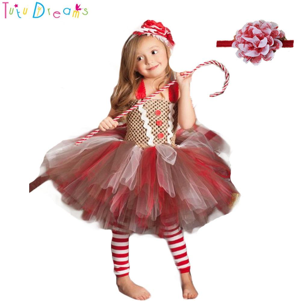 Christmas Gingerbread Tutu Dress Cute Baby Kids Girls