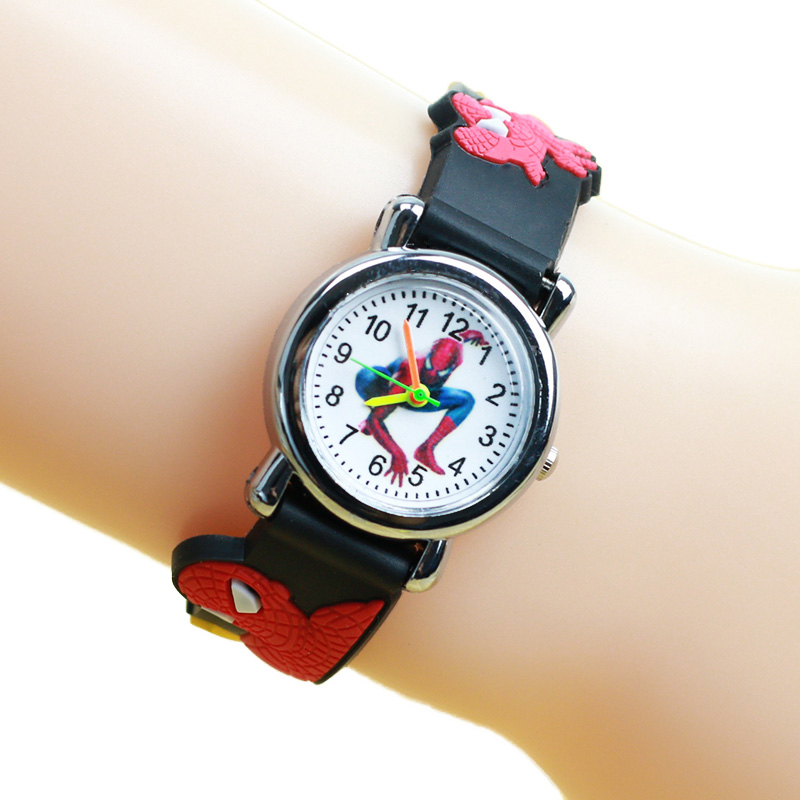 JOYROX Child Watch Cartoon Pattern 3D Rubber Strap Children Clock Quartz For Boy Sports Spiderman Kid Watches Saat Reloj Relogio цена 2017