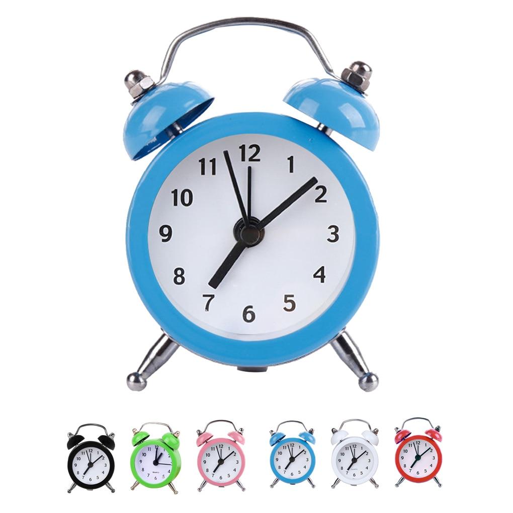 Mini Round Alarm Clock Desktop Table Bedside Kids Adult Travel Home Office Decor