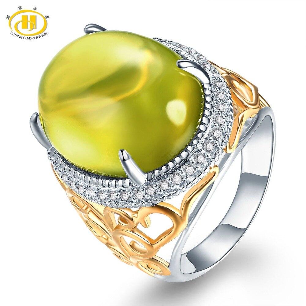 Hutang камень украшения Природный камень Зеленый Лимон Кварц Твердые стерлингового серебра 925 Обручальное кольцо Fine Модные украшения для пода