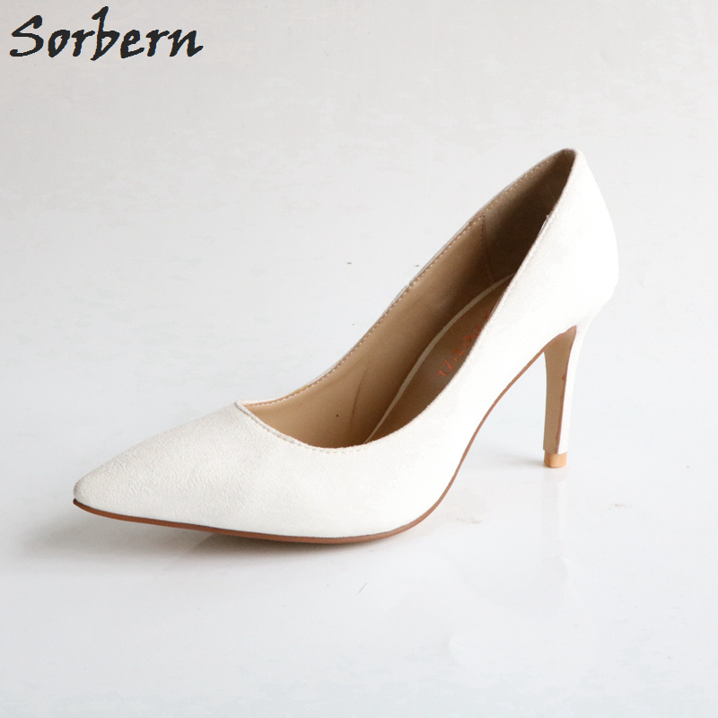 Sorbern Pale White Women Pumps Sexy High Heel Stilettos Ol Shoes Designer Heels Women Office Shoes Women Pointed Heels Pumps new designer white pearl decor high heels pumps gold metal heels string bead women shoes pointed toe v style office lady shoes