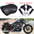 1Set Rear Passenger Foot Peg Footrest & Pillion Passenger Seat Cushion Fits fits for Harley Sportster 883 XL 2007-2013