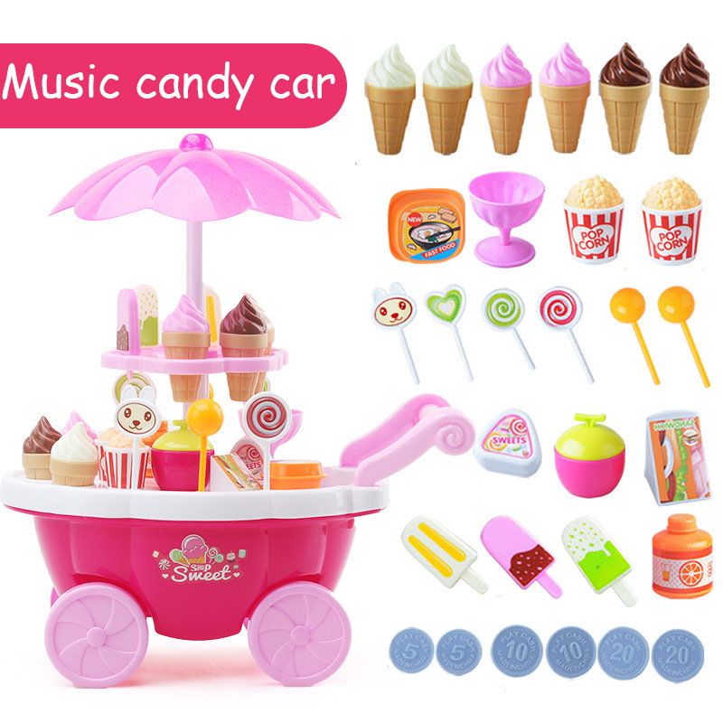 39pcs Mini Shopping Cart Toys Simulation Supermarket Folding Trolley Handcart Funny Education Toys For Children Baby Gift
