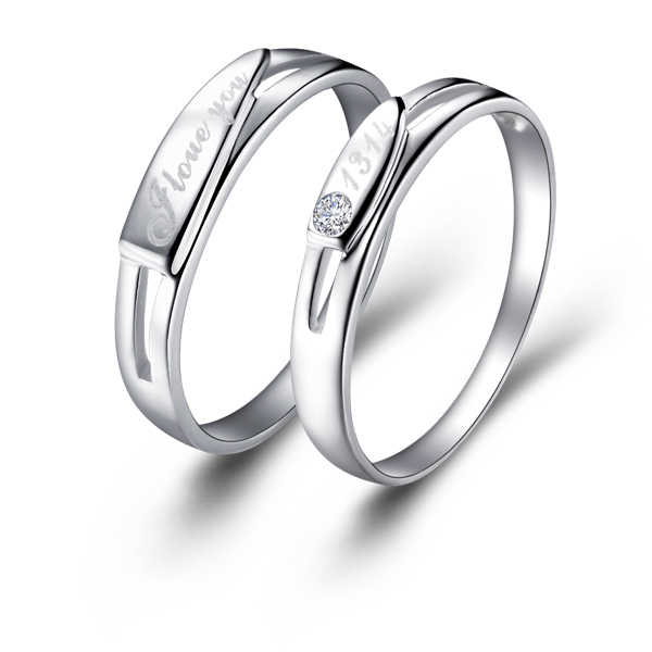 Romantic Couple Rings  Plated Gold Jewelry Rings Exquisite Design For Lovers Couple Rings Wedding Anniversary J020