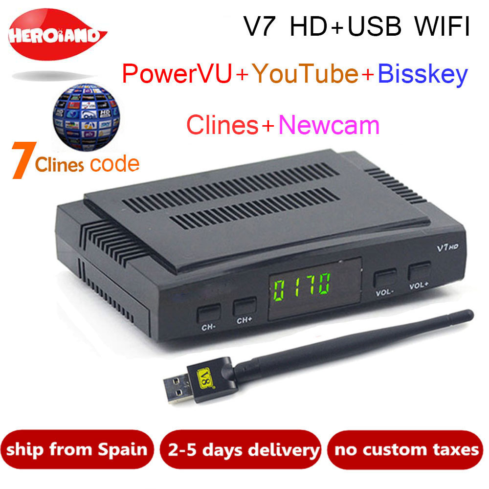 Satellite TV Receiver decoder V7 HD DVB S2 USB Wifi with 1 year 7 lines Europe