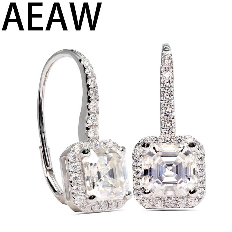 Moissanite Drop Earring 7.5mm 2 carat each total 4ctw in 14K white gold-in Earrings from Jewelry & Accessories    1