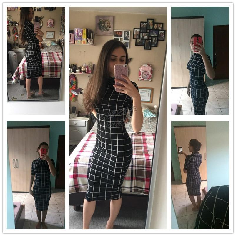 Sheinside Plaid Pencil Dress Stand Collar Short Sleeve Midi Dress 18 Autumn Winter Women OL Work Elegant Bodycon Dress 2