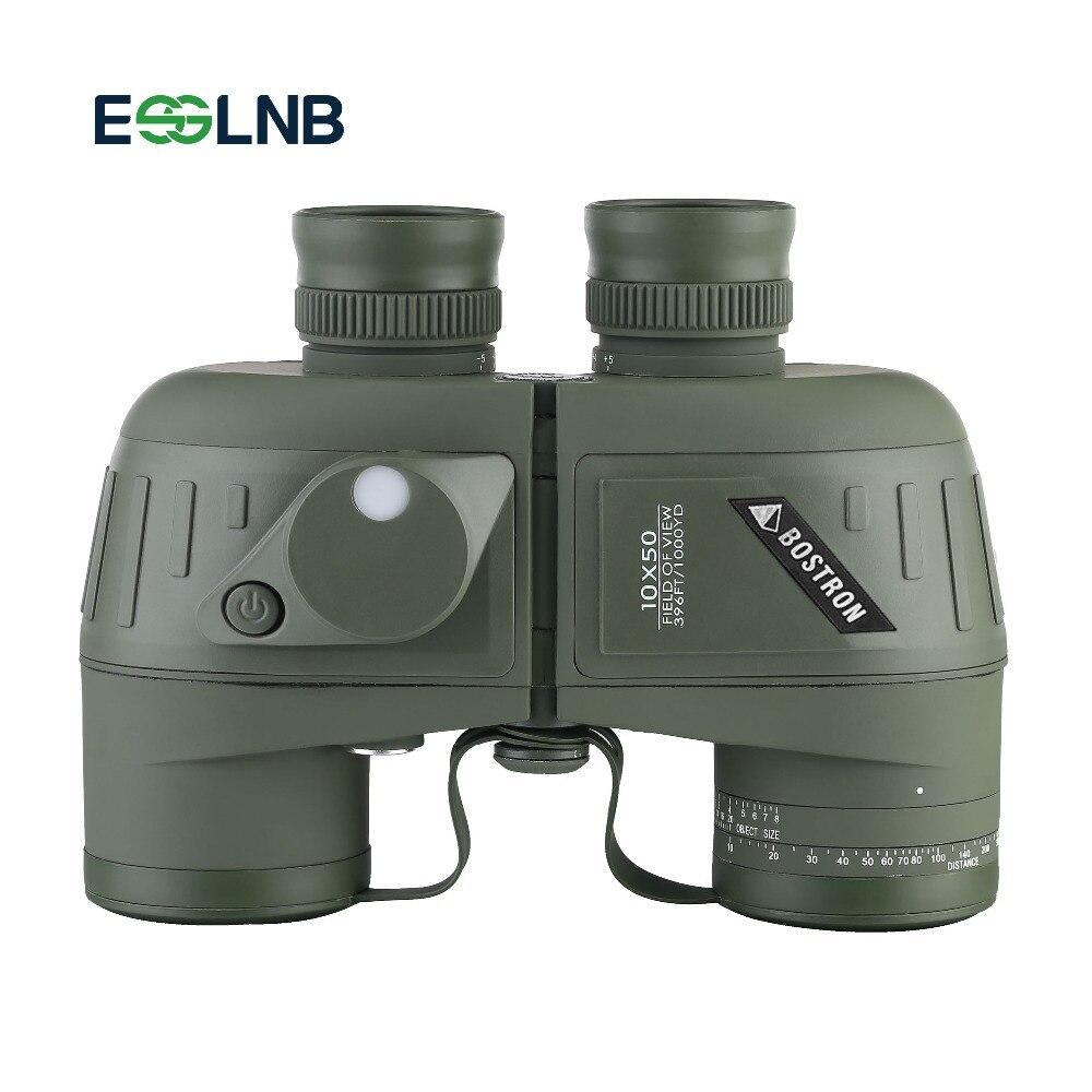 10x50 Binoculars Telescope with Rangefinder Compass BAK4 Prism FMC Lens Waterproof Fogproof Telescope For Navigation Hunting