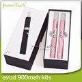 Dupla EVOD bateria E Kits de cigarro de presente caixa de embalagem 2.4 ml EVOD atomizador 900 mah EVOD hookah caneta recarregável