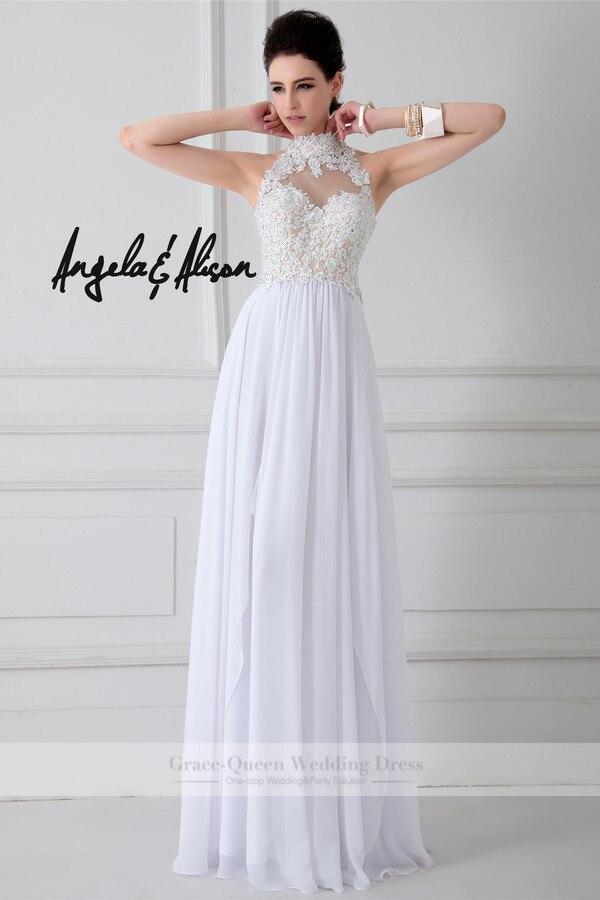 Classy Floor Length Gown Lace Applique Turtle Neck Cut Out Back