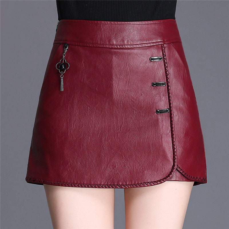 SWYIVY PU Leather Shorts Skirts Women Short Pants Autumn/winter 2019 Chinese Style Black Skirts For Women Shorts Leather Skirt