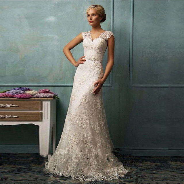Wedding Gowns With Cap Sleeves: MANSA Vintage Lace Wedding Dress V Neck Cap Sleeve Long