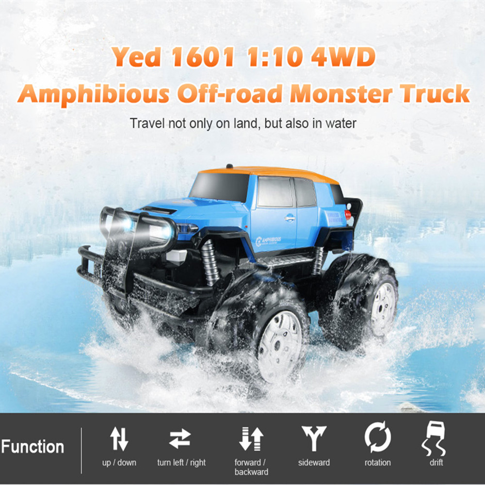 все цены на Dirt Bike Yed 1601 1:10 4WD All-terrain Amphibious Remote Control Off-road Monster Truck 12km/h Speed RC Car Toy For Children