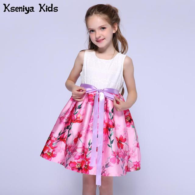 Kseniya Kids Designer Summer White And Pink Girls Dresses For Party And  Wedding Children Clothes Baby a18c17d3d696