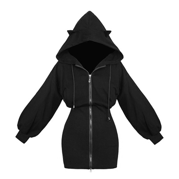 Long Women Black Punk Gothic Cat Hoodie Zip-up