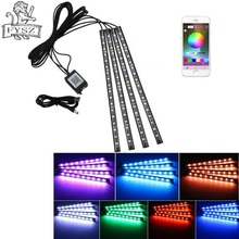 цены на Car RGB USB app LED 5V 18SMD foot lamp ambient light voice control music lamp phone control lamp 5050 18 X 4 SMD  в интернет-магазинах