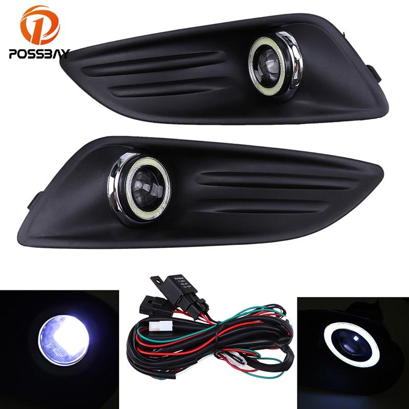 POSSBAY feux de jour adaptés pour Ford Fiesta Hatchback/berline 2014-2016 lifting LED antibrouillard Auto Angel Eyes Foglamp
