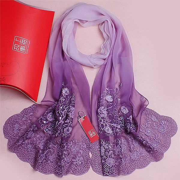 Quality mulberry silk embroidery scarf  long design 2014 spring and autumn female scarves silk shawl silk scarf  180*55cm