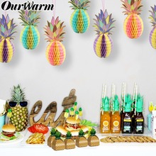 OurWarm Luau Hawaiian Party Hanging Decoration Pineapple Candy Box LED Lamp String Tissue Paper Honeycomb