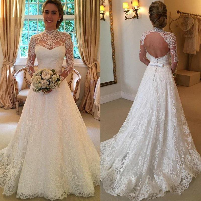 2019 New Sheer High Neck Lace Wedding Dresses Long Sleeves Princess Formal Bridal Gowns with Keyhole Back