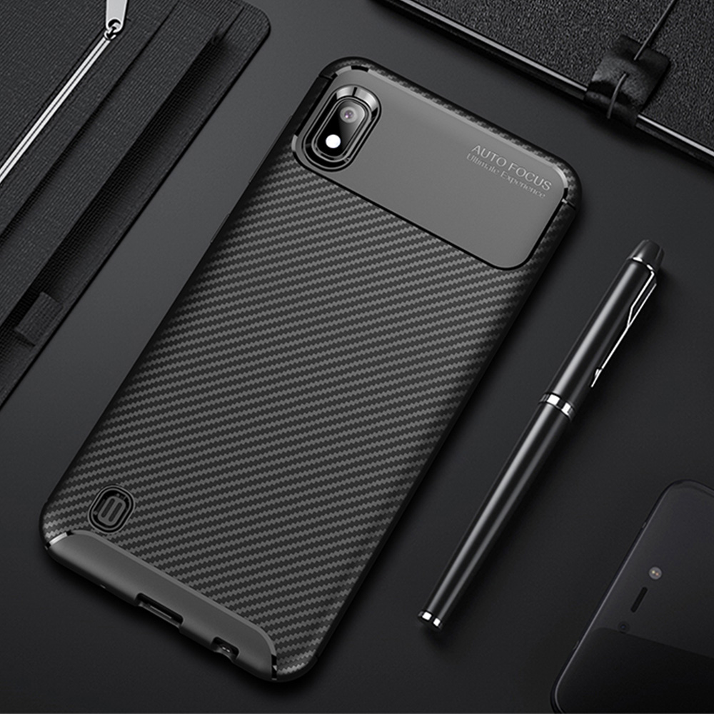 For <font><b>Samsung</b></font> Galaxy <font><b>A10</b></font> <font><b>Case</b></font> Luxury Carbon Fiber Cover Full Protection Phone <font><b>Case</b></font> For Galaxy A 10 Cover Shockproof Bumper Shell image