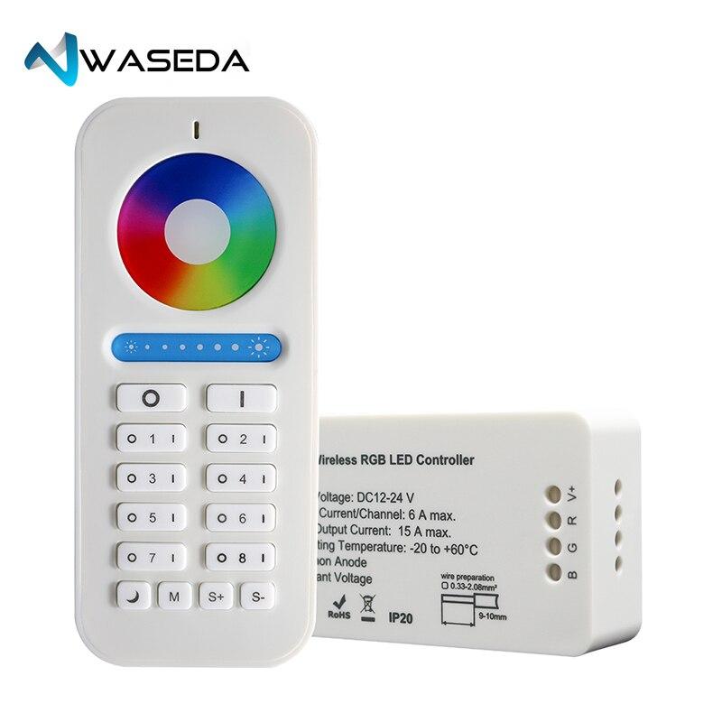 Waseda 2.4 ghz RF Led Contrôleur Sans Fil RGB RGBW RVB + CCT Contrôleur DC12/24 v led bande contrôleur wifi 8 zone à distance LED lumière