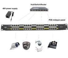 16 포트 poe 인젝터 802.3af/at poe 패널 100 mbps 48 v 24 v cctv 카메라 ip 전화 mikrotik 액세서리