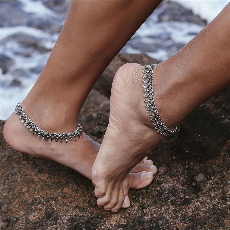 Modyle Boho Anklet Foot Chain Ankle Summer Bracelet Charm Anklet Tassel Sandals Barefoot Beach Foot Bridal Jewelry Gift