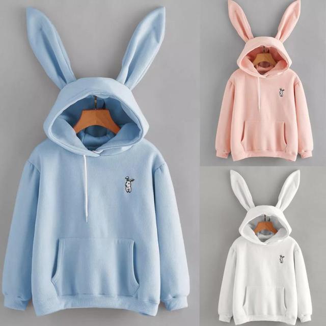Women's Rabbit Ears Decorated Hoodie