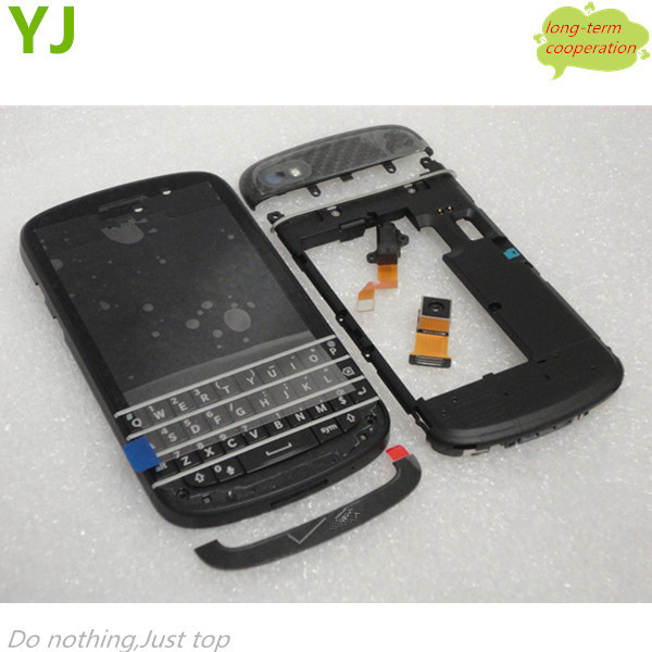HK Free OEM LCD Screen and Digitizer Assembly with Middle Frame & Keypad for BlackBerry Q10 - Black