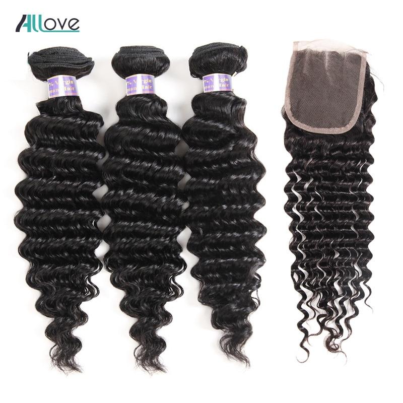 Allove Hair Peruvian Deep Wave Bundles With Closure 3 Bundles Human Hair Weaves Bundles With Closure