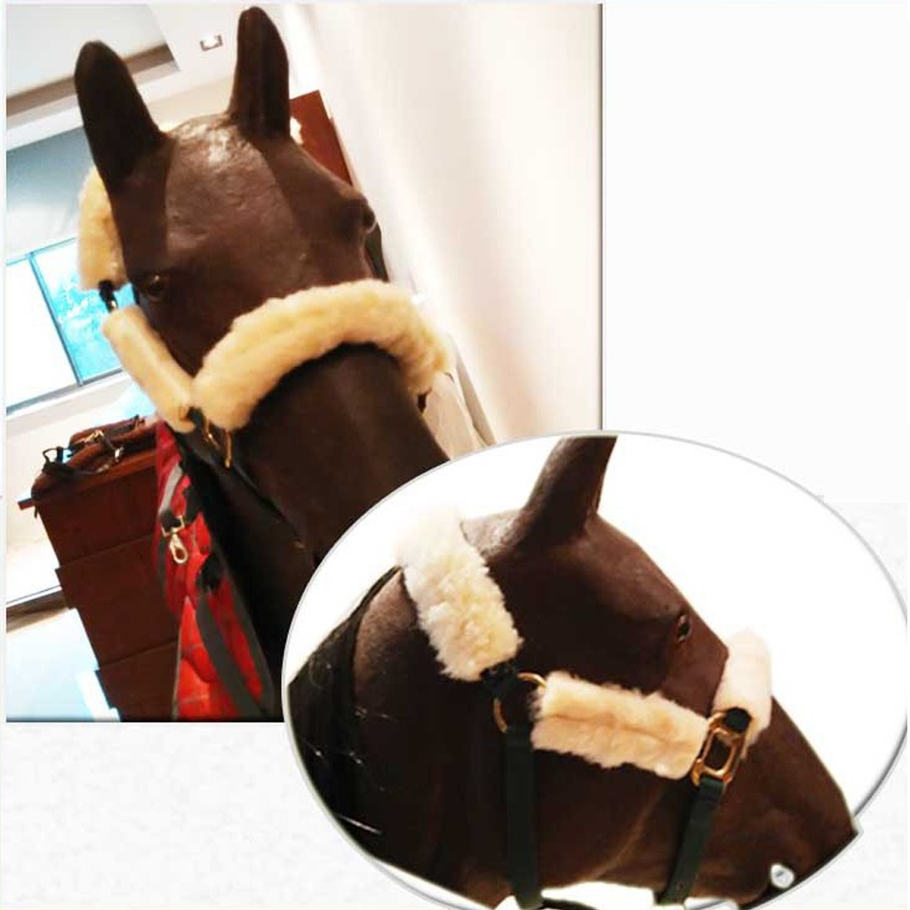 MagiDeal 4pcs Fleece Horse Noseband Covers Headpiece Accessories Halter Protect Gear for Outdoor Horse Riding Accessories