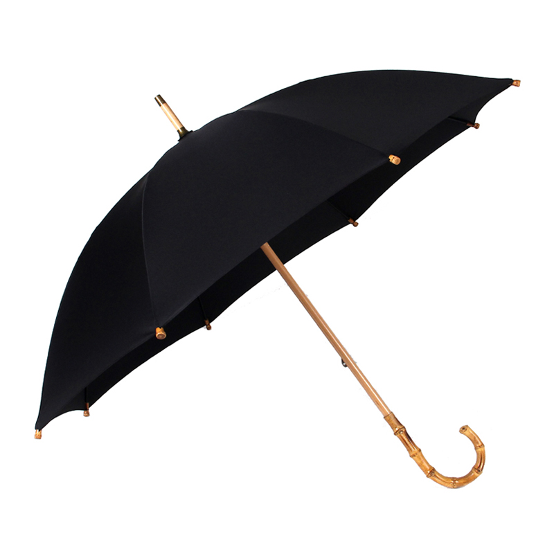 Hot Sale Bamboo Rattan Long Paraply Men Retro Curved Handle Large Rain Paraply Stark Glasfiber 8K Vindtät Anti UV Parasol