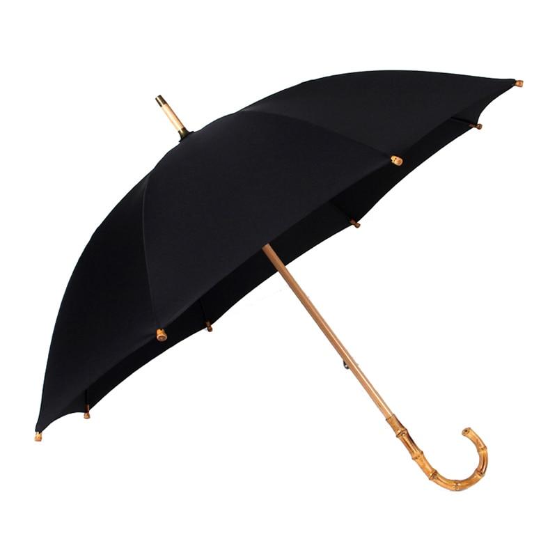 Hot Bamboo Rattan Long Umbrella Men Retro Curved Handle Large Rain Strong