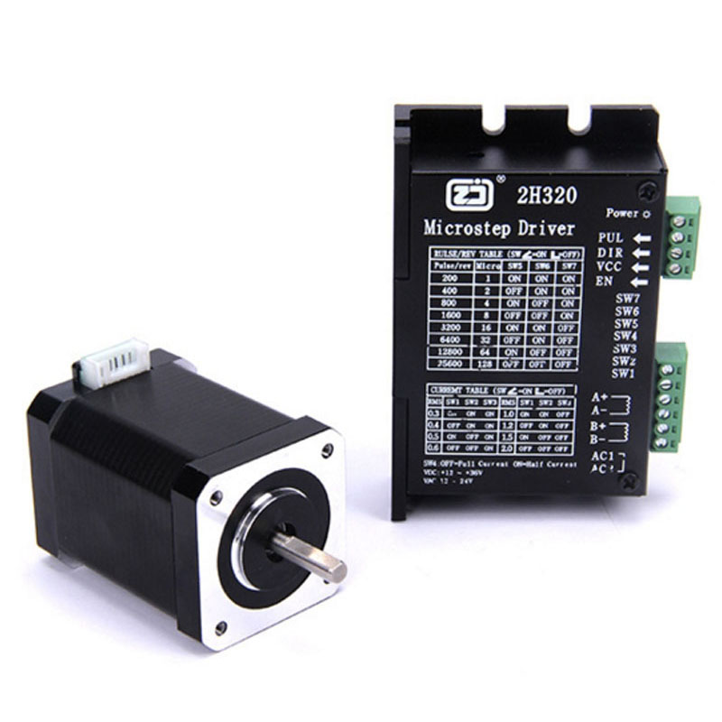 4218HB4 + 2H320 Driver 42 Stepper Motor Set Micro Motor Deceleration 128 subdivision nema24 3nm 425oz in integrated closed loop stepper motor with driver 36vdc jmc ihss60 36 30