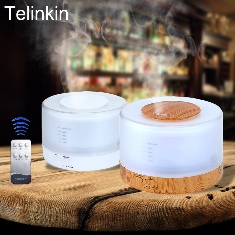 Aroma Diffuser Wood Humidifier Remote Control 500ml Colorful Lamp Timer Function Ultrasonic Humidifier Aroma Wood Diffuser aroma oil diffuser ultrasonic humidifier remote control 10s 2h 4h timer 500ml tank lamp wood ultrasonic humidifiers for home