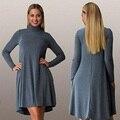 L-3XL 4XL 5XL 6XL 2016 Big Size Dress Autumn Winter Plus Size Women Clothing Long Sleeve Party Dresses Blue Casual Dress Vestido