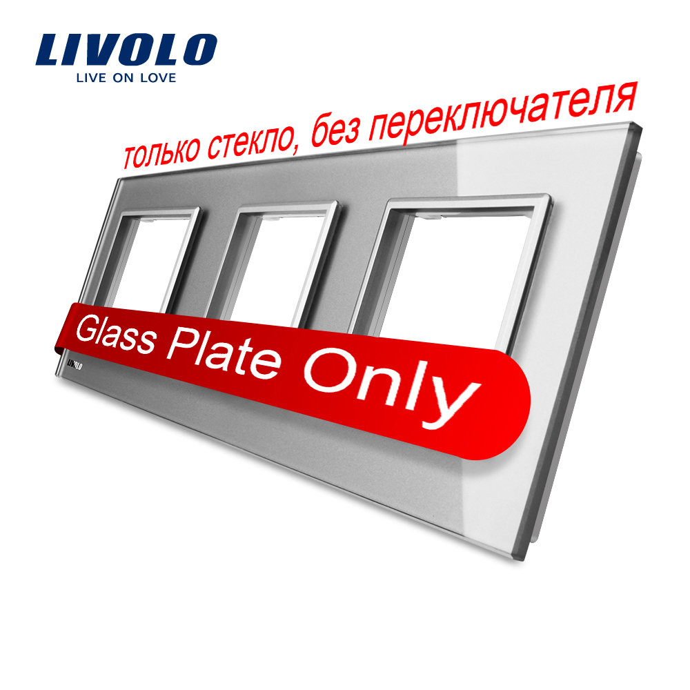 Livolo Luxury Grey Pearl Crystal Glass, 222mm*80mm, EU standard, Triple Glass Panel For Wall Switch&Socket,VL-C7-SR/SR/SR-15