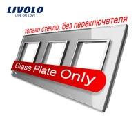Livolo Luxury Grey Pearl Crystal Glass 222mm 80mm EU Standard Triple Glass Panel For Wall Switch