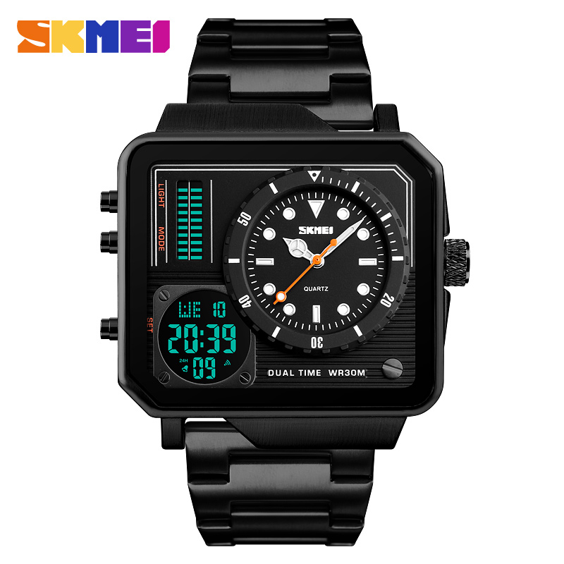 цена на SKMEI Men Watches Digital Double Time Sport Watch Chronograph Waterproof Wristwatches Stainless Steel Strap Quartz Male Clock