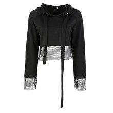 oioninos Black Loose Short Sweatshirt Sexy Women Hoodie Ladies Round Neck Long Sleeve Lace Drawstring Hooded Pullover