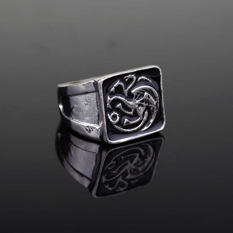 MQCHUN Game of Thrones Dragon House Targaryen Inspired Seal Fashion Ring Black Enamel Size 7-12