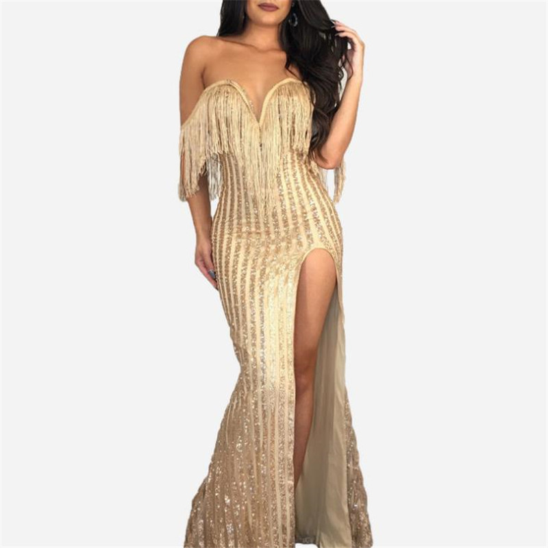 Sexy Dress Elegant V Neck Off Shoulder Tassel Glitter Maxi Dress Luxury Wedding Party Dress vestidos verano 2019 HC118