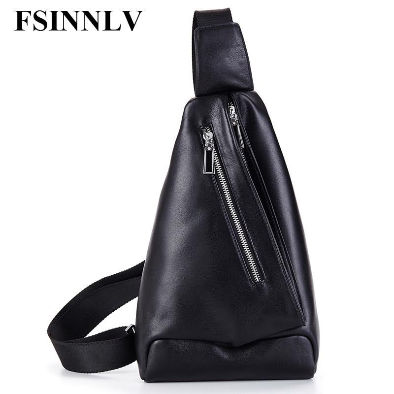 ФОТО FSINNLV Genuine Leather Men Bags Crossbody Bags High Quality Chest Bags Fashion Male Shoulder Bags Travel Storage Bags DC217