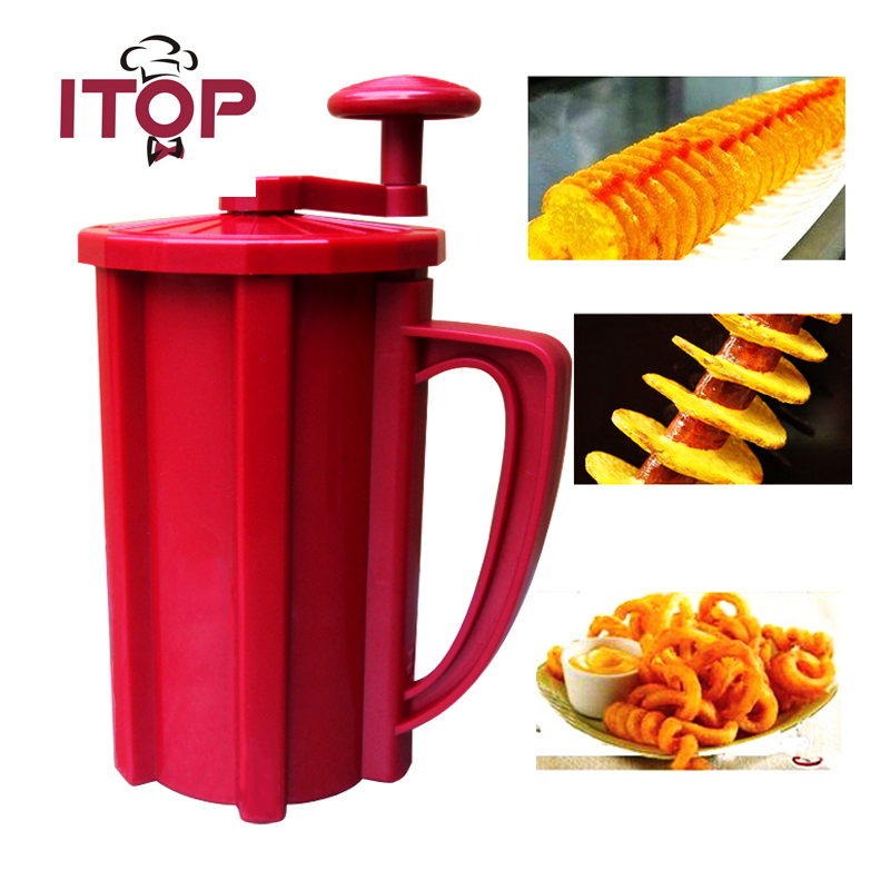 ITOP Twisted Potato Cutter Plastic Commercial Manual Potato Slicer  Fry Cutter Carrot Spiral Slicer Kitchen Vegetable Cutting itop aluminum alloy vertical potato